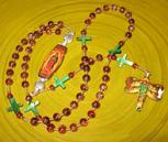 handmade catholic rosary, our lady of guadalupe, st. juan diego, domino pendants, christian, prayer beads, meditation
