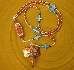 handmade rosary, our lady of guadalupe, catholic, prayer beads, dragonfly, goldstone, shell cross