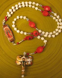 handmade rosary, catholic, our lady of guadalupe, prayer beads, dragonfly, shell, red coral